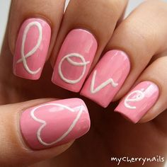 Pink love heart nails