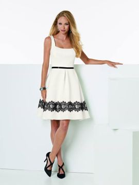 Short Crystal Satin flirt dress with inverted pleats and side seam pockets.