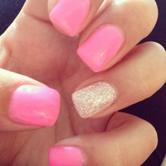 Candy pink wedding nails