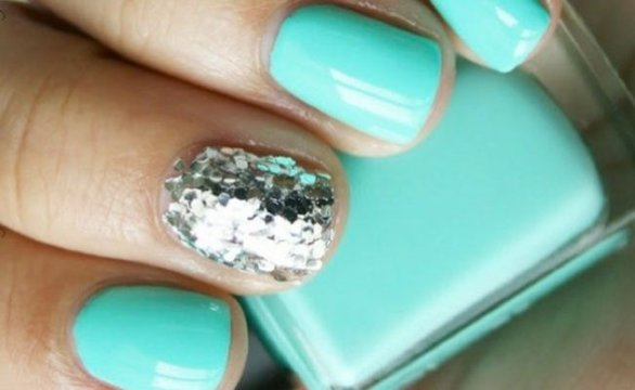 Turquoise and silver nails