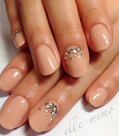 Nude nails with sparkle