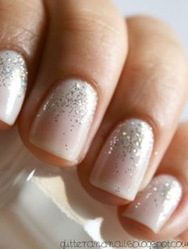 Nude sparkle wedding nails