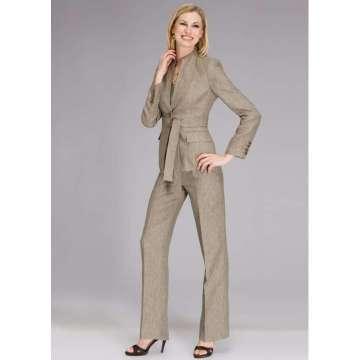 3-piece Belted Linen Melange Pant Suit