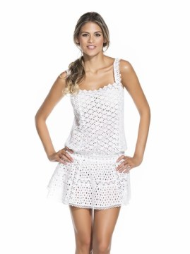 COTTON EYELET SHORT DRESS