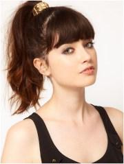 high ponytail hairstyle medium-length