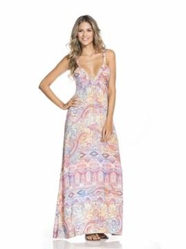 Paisley Deep Neck Drop Maxi Dress