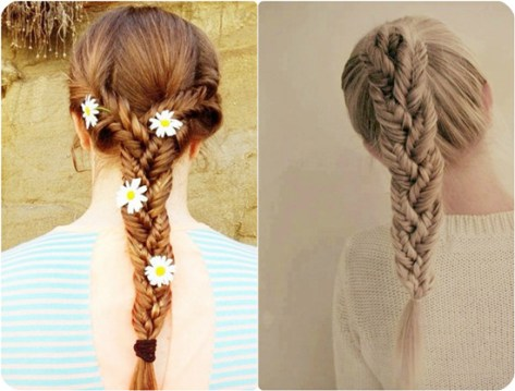 Tri-braided Fishtail Ponytail for Long Hair