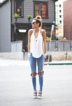 Jeans and casual top