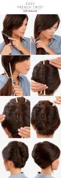 Chopstick chignon tutorial