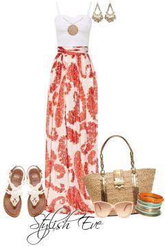 Summer maxi skirt outfit