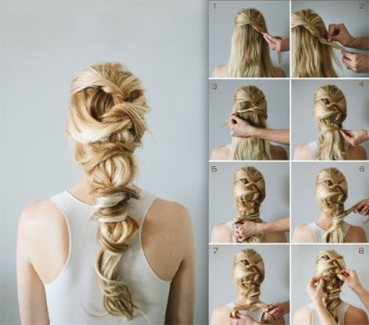 Romantic Twisted Braids Ponytail Hairstyle for Weddings