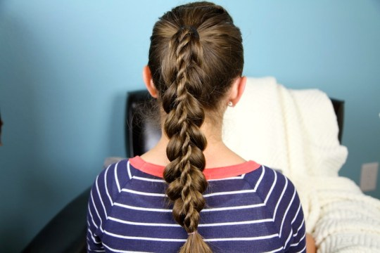 Stacked Twist Braid Ponytail Hairstyle