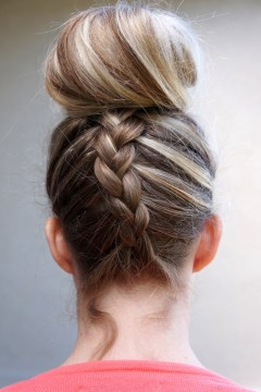 Blonde French Braid Top Knot