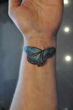 3D Butterfly Wrist Tattoo