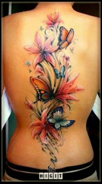 3D Flower and Butterfly on the Back Spine
