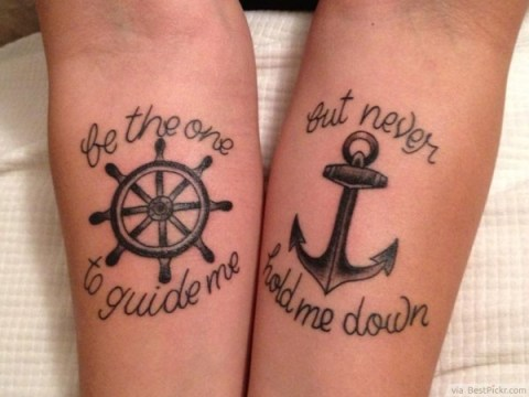 Anchor-Wheel Meaningful Couple Tattoo