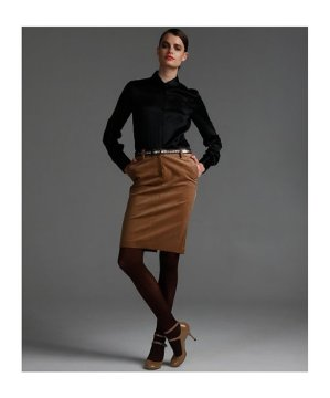 Camel Corduroy Pencil Skirt