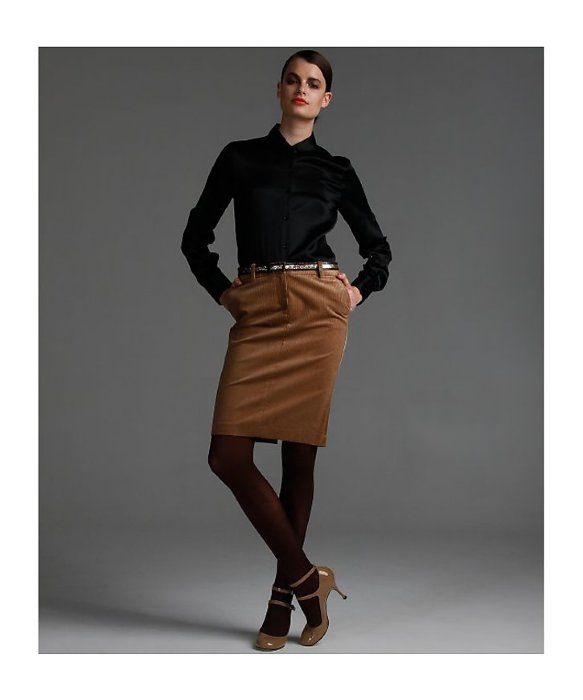 What to wear with grey leather pencil skirt – Fashionable skirts ...