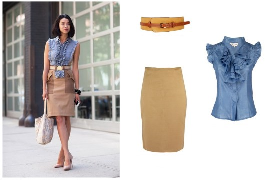 Camel Pencil Midi Skirt