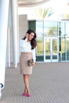 Camel Pencil Skirt with White Long-sleeved Top