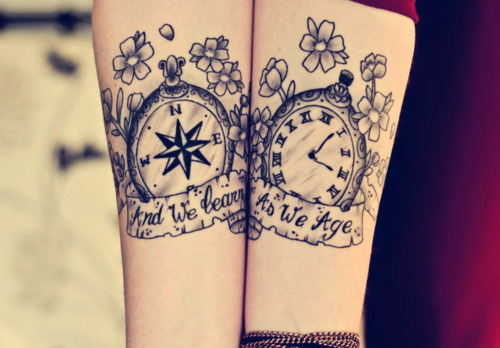 Compass and Clock Awesome Couple Tattoo