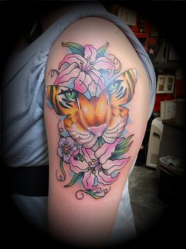 Floral Butterfly Tiger Tattoo on Arm