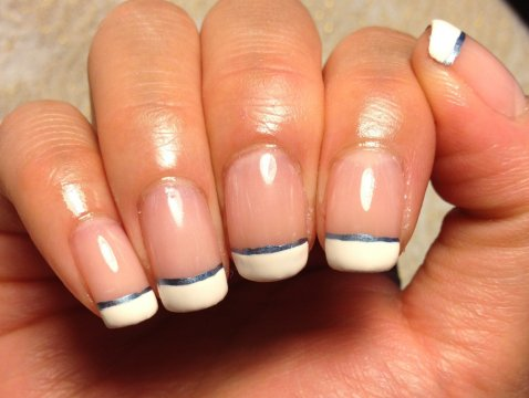 French Manicure with Metallic Blue