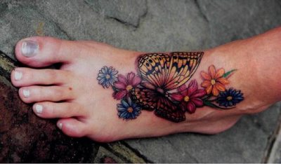 Full Foot Floral Butterfly Tattoo