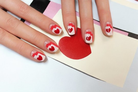 Graphic Heart Nail Art for Weddings