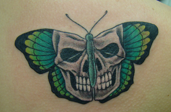 Green Skull Butterfly Tattoo