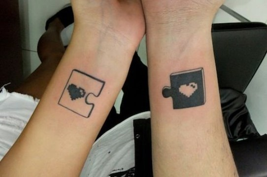 Jigsaw Puzzle Piece + Heart Matching Couple Tattoo