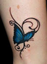 Line Vine Blue Butterfly Tattoo