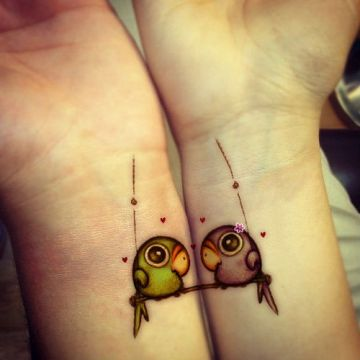 Love Birds Matching Couple Tattoo
