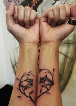 Meaningful Owl Couple Tattoo