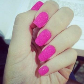 Neon Pink Nails Art Design
