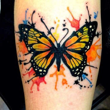 Paint Splash Colorful Buttefly Tattoo