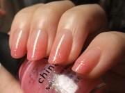 peach clear gradient nails