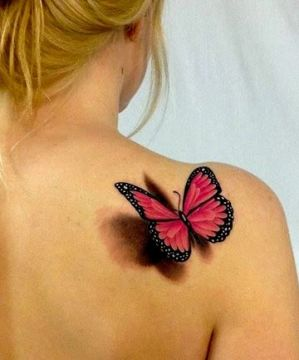 Pink 3D Butterfly Tattoo