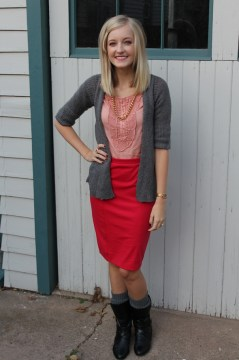 Pink Pencil Skirt Black Boots Gold Chain Necklace Grey Sweater