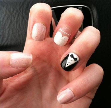 Playful Black Tie And Wedding Dress Nail Art