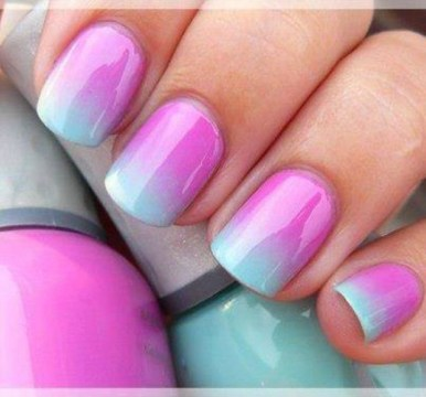Pretty Purple and Green Pastel Ombre Nail Design