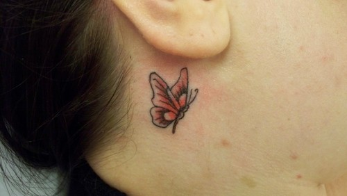 Side Ear Small Butterfly Tattoo