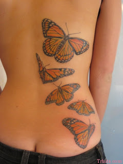 Side Half Body Monarch Butterfly Tattoo