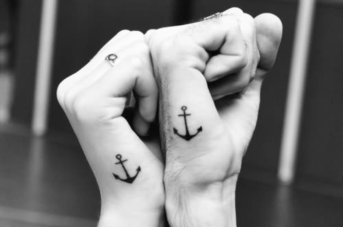 Small Simple Anchor Couple Tattoo Design Idea