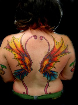 Symmetrical Butterfly Wing on the Back