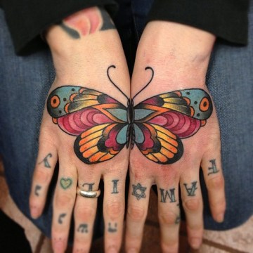 Traditional Butterfly Tattoo on Two Hands