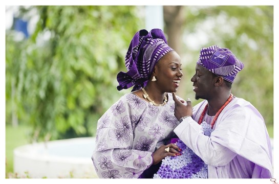 couple with purple aso oke