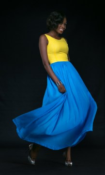 yellow top with blue puckened skirt drop waist style dress bella naija