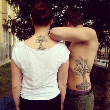 brother sister tree match tattoo