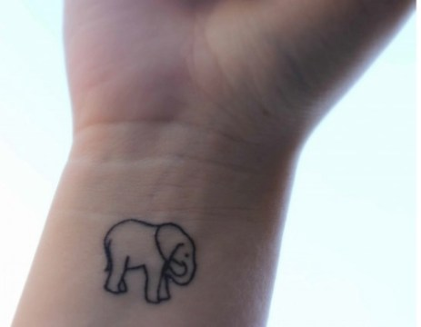 elephant outline on wrist